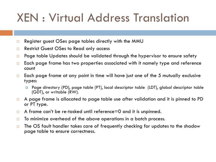XEN : Virtual Address Translation