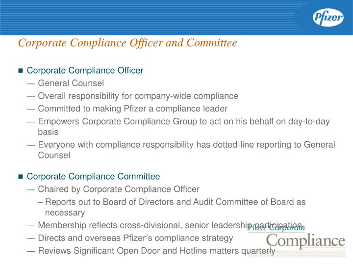 Corporate compliance officer and committee