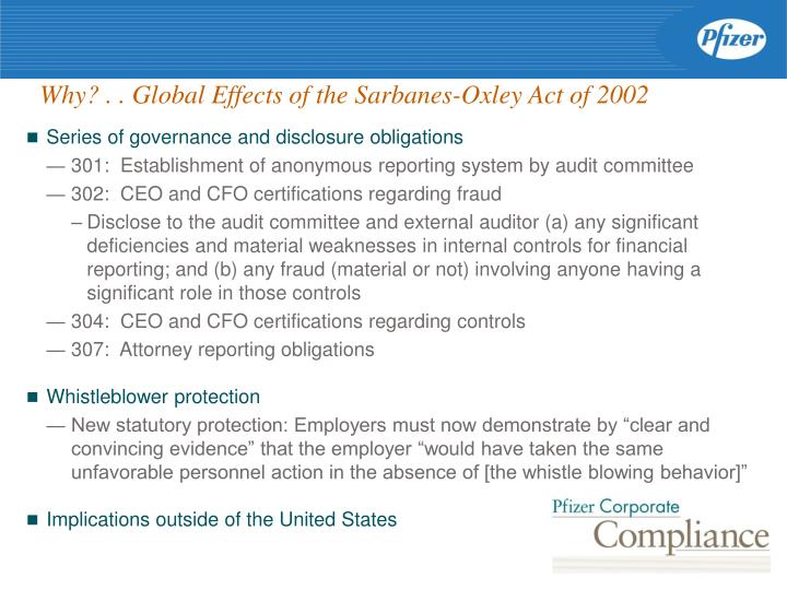 Why? . . Global Effects of the Sarbanes-Oxley Act of 2002