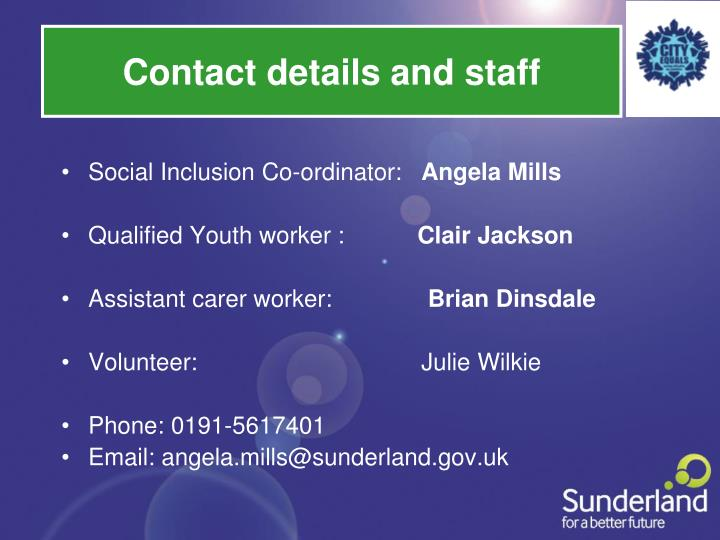 Contact details and staff