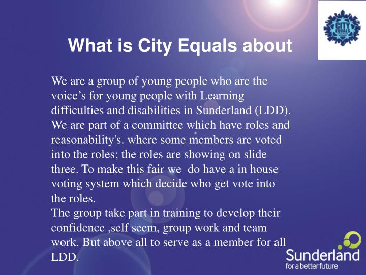 What is City Equals about
