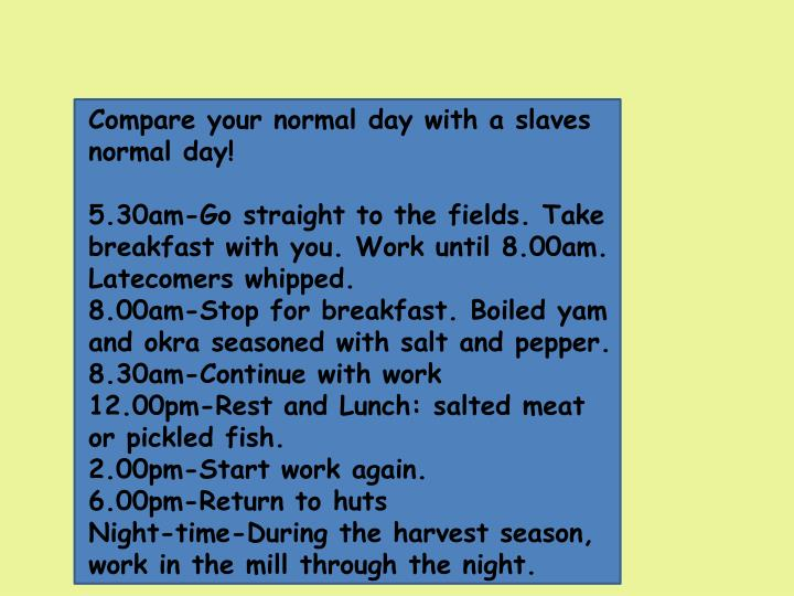 Compare your normal day with a slaves normal day!