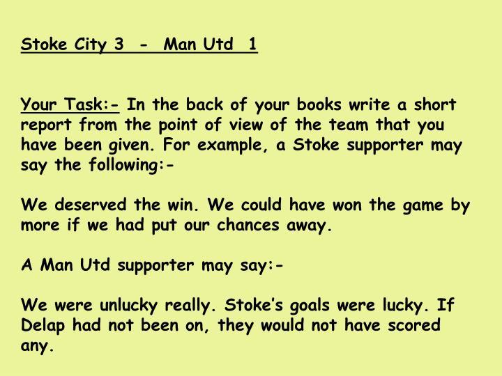 Stoke City 3  -  Man Utd  1