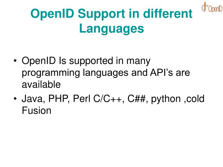 OpenID Support in different Languages