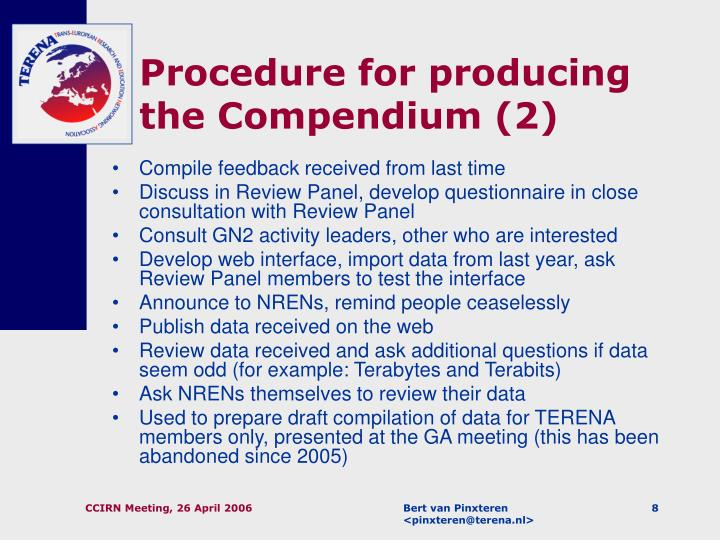 Procedure for producing the Compendium (2)