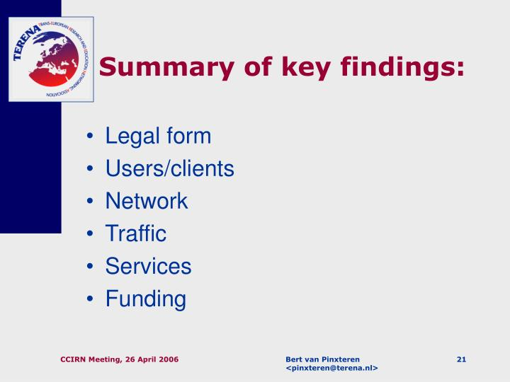 Summary of key findings: