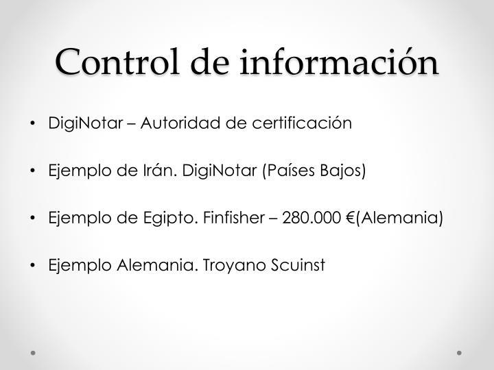 Control de información