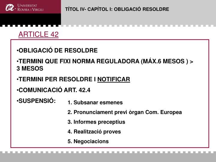 TÍTOL IV- CAPÍTOL I: OBLIGACIÓ RESOLDRE