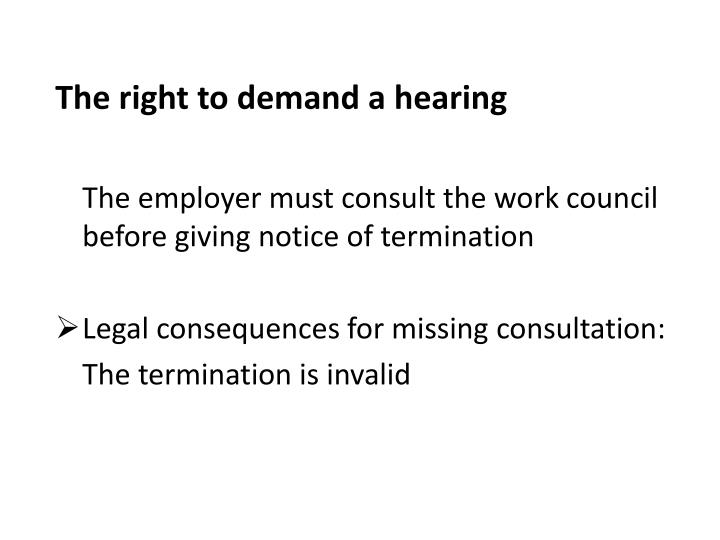 The right to demand a hearing