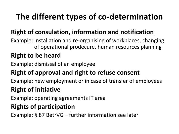 The different types of co determination