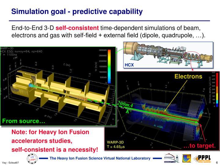 Simulation goal - predictive capability