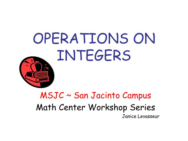 Operations on integers