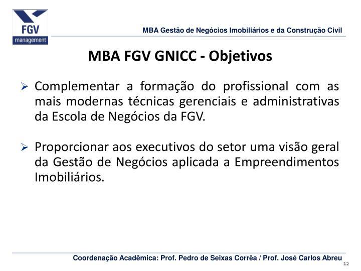 MBA FGV GNICC - Objetivos