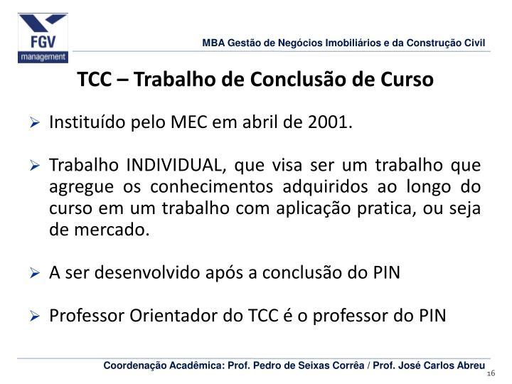 TCC – Trabalho de Conclusão de Curso