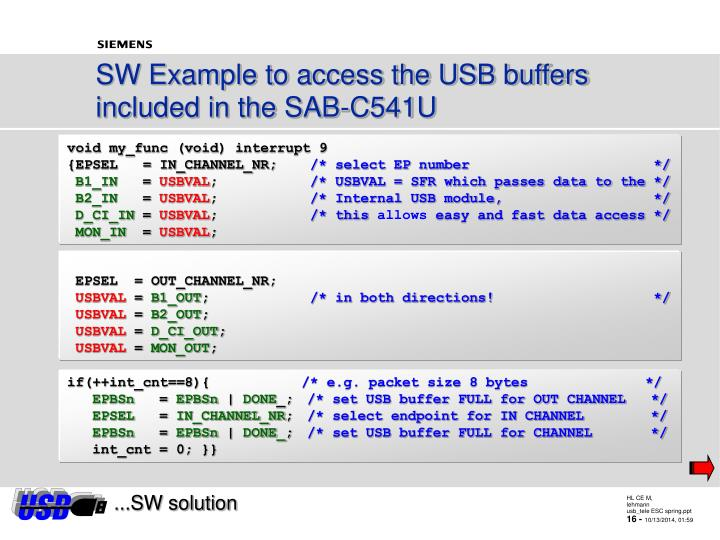 SW Example to access the USB buffers included in the SAB-C541U