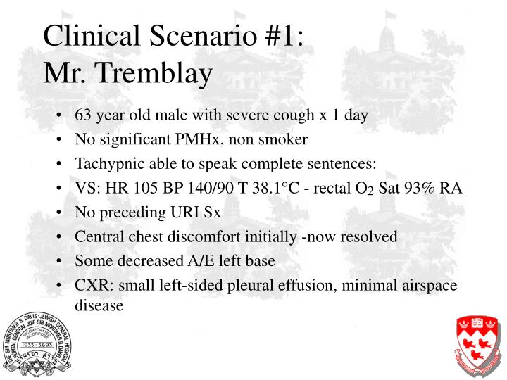 Clinical scenario 1 mr tremblay