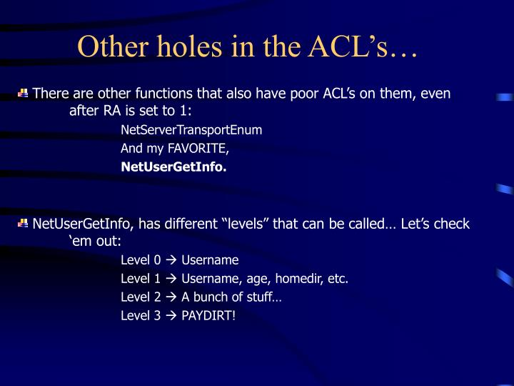 Other holes in the ACL's…