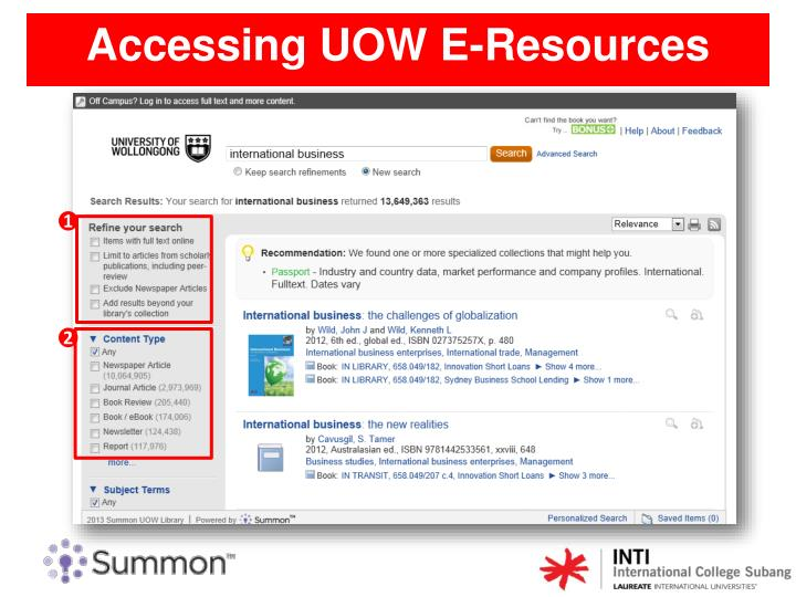 Accessing UOW E-Resources