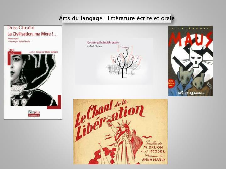 Arts du langage : littérature
