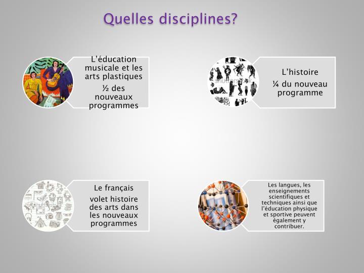 Quelles disciplines?