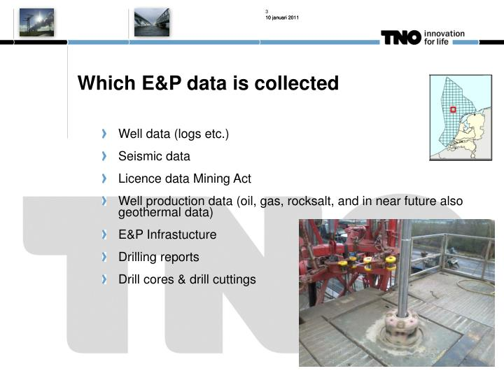 Which E&P data is collected