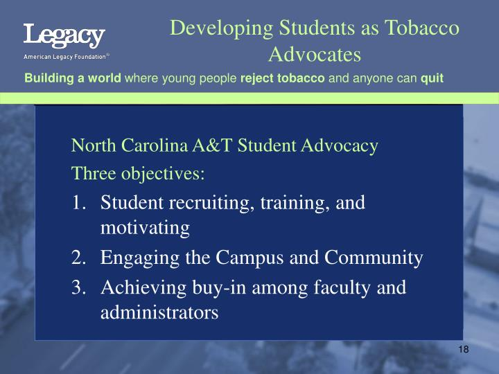 Developing Students as Tobacco Advocates