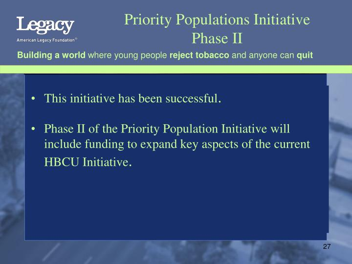 Priority Populations Initiative