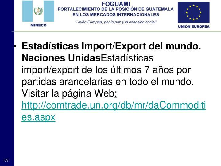 Estadísticas Import/Export del mundo. Naciones Unidas
