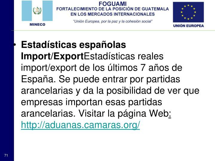 Estadísticas españolas Import/Export