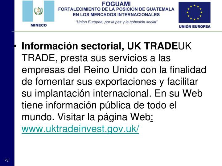 Información sectorial, UK TRADE