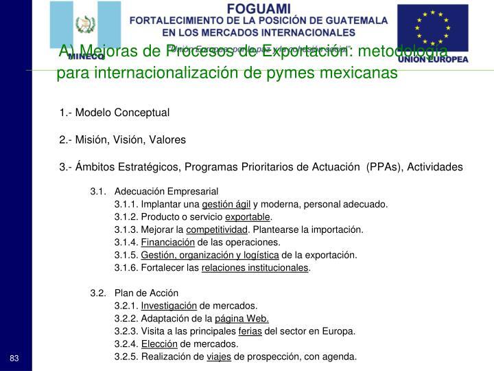 A) Mejoras de Procesos de Exportación: metodología para internacionalización de pymes mexicanas