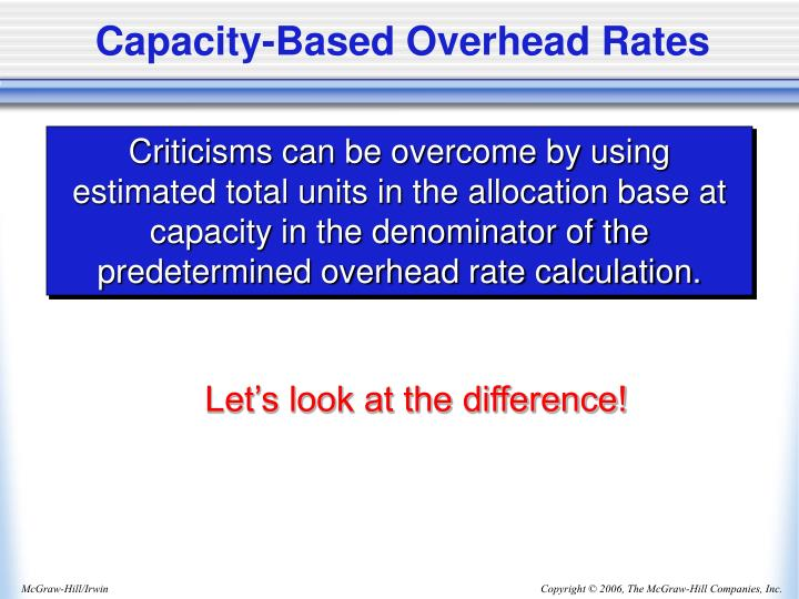 Capacity-Based Overhead Rates