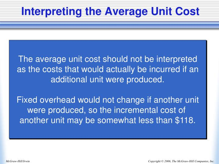 Interpreting the Average Unit Cost