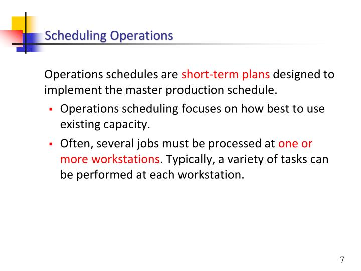 Scheduling Operations