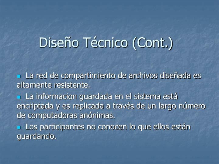 Diseo Tcnico (Cont.)