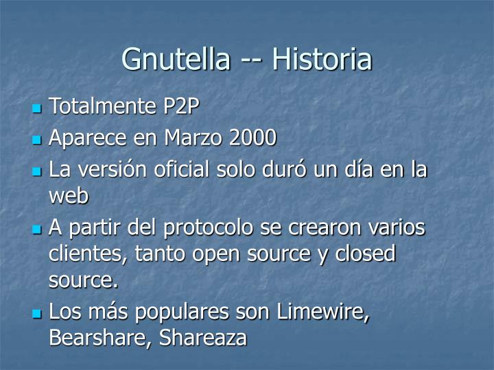 Gnutella -- Historia