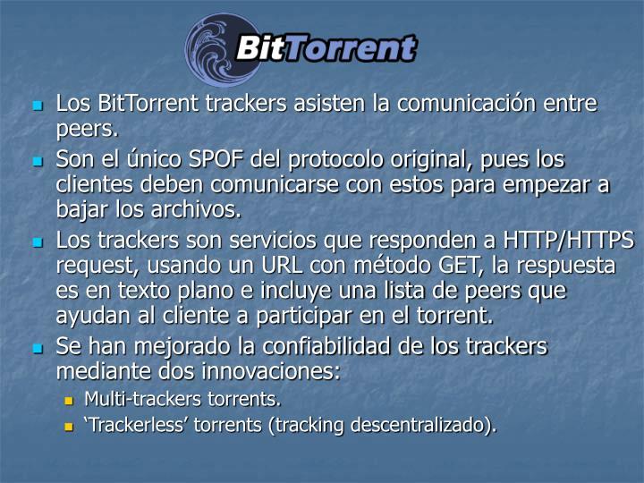 Los BitTorrent trackers asisten la comunicacin entre peers.