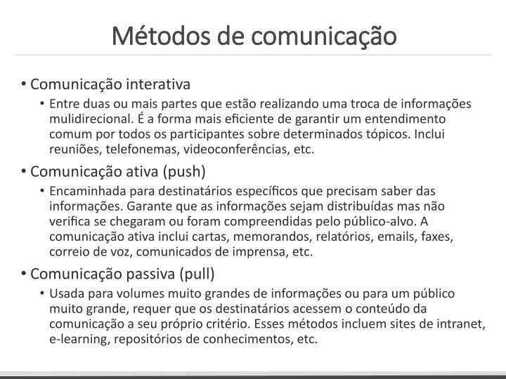 Métodos de comunicação