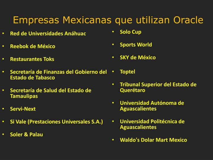 Empresas Mexicanas que utilizan Oracle