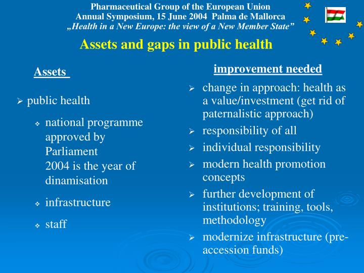 Assets and gaps in public health