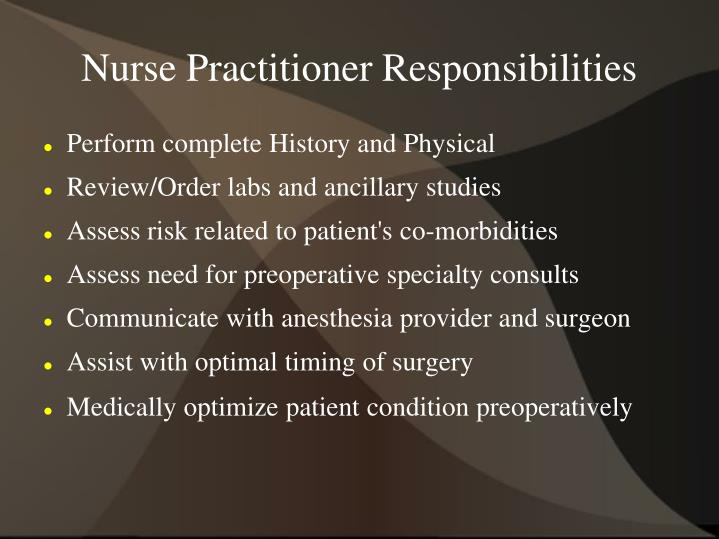 Nurse Practitioner Responsibilities