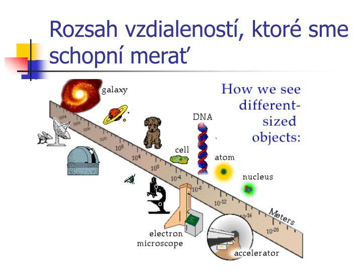 Rozsah vzdialeností, ktoré sme schopní merať