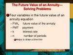 the future value of an annuity solving problems
