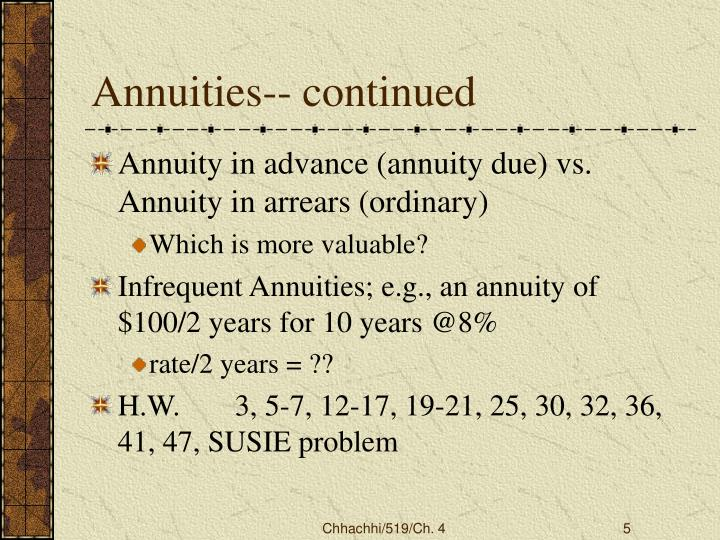 Annuities-- continued