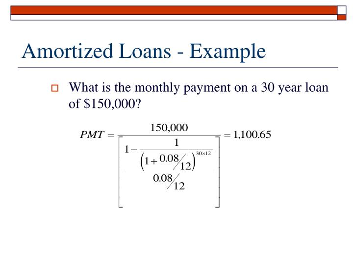 Amortized Loans - Example