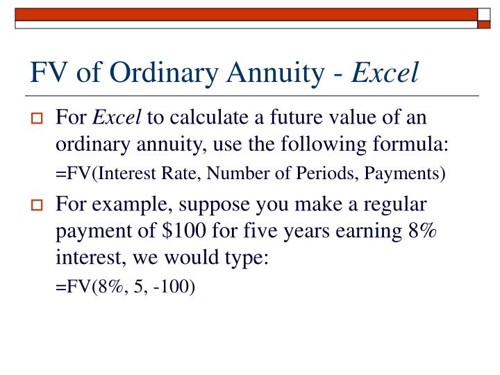 FV of Ordinary Annuity -