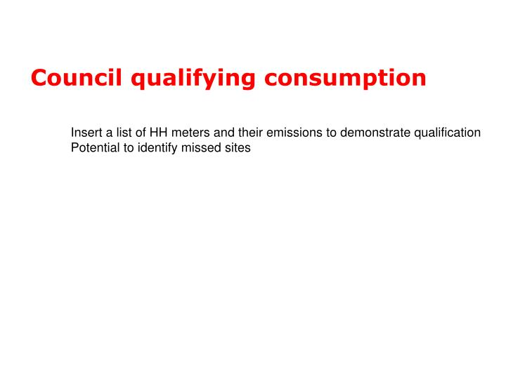 Council qualifying consumption