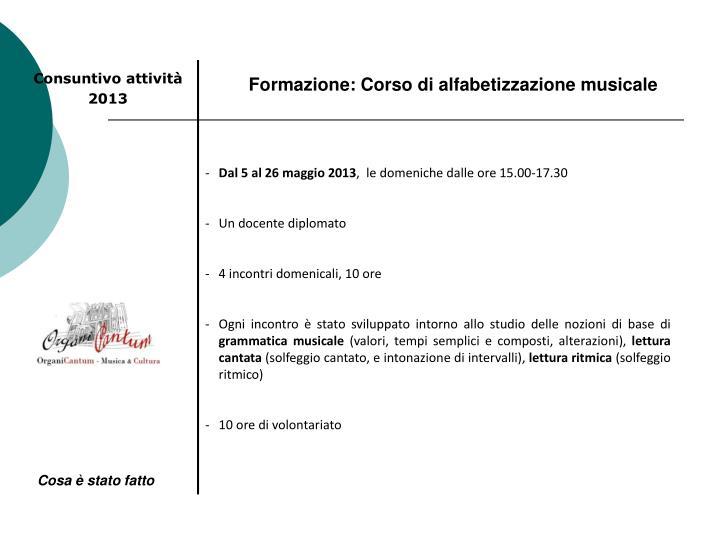 Formazione: Corso di alfabetizzazione musicale