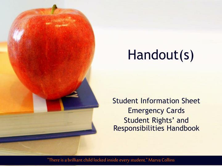 Handout(s)