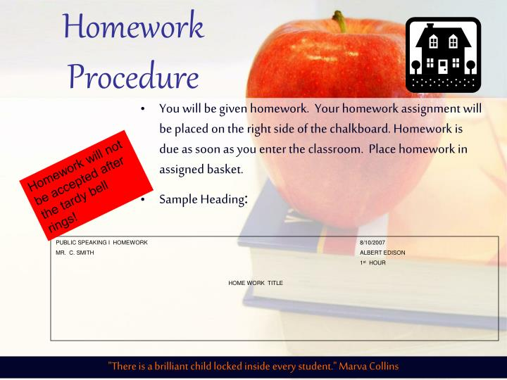 Homework Procedure